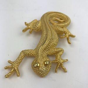 Doreen Ryan gold plated lizard pin brooch sparkly